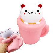 Cute Squishy Slow Rising Cream Pink Cup Cat Scented Squeeze Doll Soft Toys Decor Adult Kids Gifts
