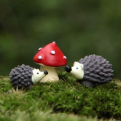 Gemini_mall® Set of 3 Miniature Fairy Garden Hedgehog Mushroom Home Decoration Outdoor Decor