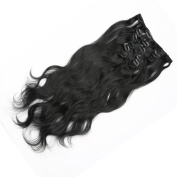 Furice 41cm Clips Extensions Black Hair Extensions Clip in Curly Hair Clip in Extensions Long Clip in Hair Extensions