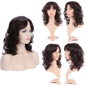 Glamorous Shoulder Length Wig for Daily & Party Dress Curly Hair Central Part Oblique Bangs