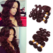 FASHIJIA Burgundy #99J Virgin Hair With Closure Wine Red Body Wave Human Hair 3 Bundles With Lace Closure 4x4 Free Parting