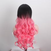 Anxin Long Curly Wigs Multi Colour with Side Bangs for Women
