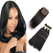 Cynthia Beauty Malaysian Straight Hair 3 Bundles with Lace Closure Virgin Human Hair Silky Straight Bundles Natural Black Colour