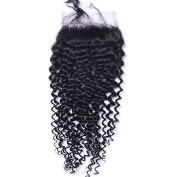 CXYP 10cm x 10cm Kinky Curly Human Hair Closure Bleached Knots Lace Closure with Baby Hair Natural Colour
