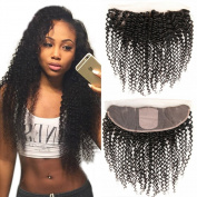 Doren 13x 4 Silk Base Lace Frontal Kinkys Curly Indian Remy Human Hair Ear to Ear Frontal Closure with Baby Hair Natural Colour 25cm