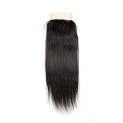 CXYP 10cm x 10cm Straight Closure Human Hair Bleached Knots Lace Closure with Baby Hair Natural Colour