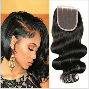 4x4 3 Part Peruvian Body Wave Lace Closure 100% Unprocessed Remy Human Hair Natural Colour Closures for Black Women