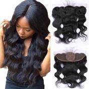 Doren 13x 4 Silk Base Frontal Body Wave 7A Brazilian Virgin Human Hair Ear to Ear Lace Closure with Baby Hair Natural Colour 46cm