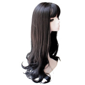 BESTLEE Long Wavy Synthetic Hair Clip in Hairpiece Mono Hair Topper Top Piece Semi Wig with Bangs for Thin Hair