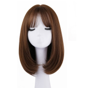 BESTLEE Short Straight Bob Synthetic Hair Clip in Hairpiece Mono Hair Topper Top Piece with Air Bangs