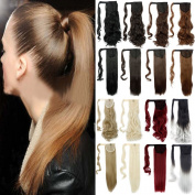 FUT 3-5 . 46cm 90g Curly Wrap Around Ponytail Clip in Pony Tial Hair Extensions for Girl Lady Women Ash Blonde