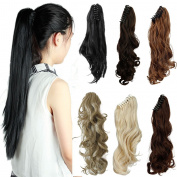 FUT 3-5 . 50cm 150g Straight Jaw Claw Ponytail Clip in Pony Tial Hair Extensions for Girl Lady Women Dark Brown