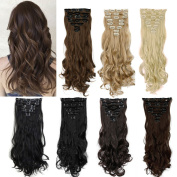 FUT 3-5 . 60cm 140g Curly Full Head 8 Piece 18 Clips in Synthetic Hair Extensions for Girl Lady Women Natural Black