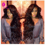 QIRUI HAIR Lace Front Wigs 130% Density Brazilian Virgin Loose Deep Wave Wig with Baby Hair for Black Women Natural Black 36cm