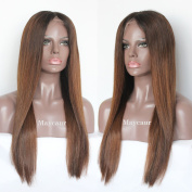 Maycaur Brown Colour Human Hair Wigs For Black Women Long Straight Lace Front Wigs Brazilian Full Lace Wig 130 Density