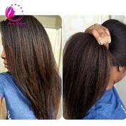 QIRUI HAIR Coarse Italian Yaki Wig Brazilain Virgin Natural Colour Kinky Straight Lace Front Human Hair Wigs for Black Women 36cm