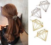 TKOnline 4pcs Minimalist Dainty Gold Silver Hollow Diamond Metal Hairpin Hair Clip Clamps