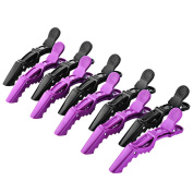 Hommit 10Pcs Plastic Hair Clips, Sectioning Alligator Hair Clips with Wide Teeth, Crocodile Hair Clip Set for Salon Styling, Blow Drying, Dying, Straightening and Curling-Black and Purple
