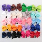 Deercon 20 Colours Cute Medium Grosgrain Ribbon Newborn Baby Girls Women Boutique Hair Bows Clips
