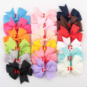 Deercon 18 Colours Baby Girls Grosgrain Ribbon Boutique Hair bows For Teens Kids
