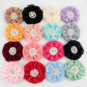 Deercon 16 Pcs Baby Girl Lace Hair Bows Clips with Pearl for Girls Kids Teens