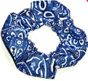 Blue White Black Bandana Print Cotton Fabric Hair Scrunchie Handmade by Scrunchies by Sherry