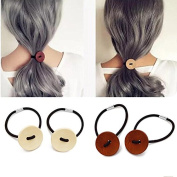 TKOnline 4Pcs Minimalist Wooden Button Hair Holder Hair Tie Elastic Rubber Bands Accessory For Girls and Womens