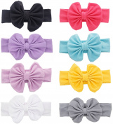 TKOnline 8 Pcs Baby Hair Hoops Headbands Girl's Soft Headbands With bows