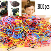 TKOnline 3000 pcs Multi Candy Colour Tpu Baby Girl's Kids Hair Holder Hair Tie Elastic Rubber Bands