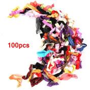BLE-100 pcs Colourful Ponytail Holders/lot Cute Ladies Girl Flower Hairband Headbands Flower Style Elestic Head.Elastic Hair Ties