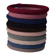 Bzybel Thick Solid Stretch No-damage Pony Elastics Ponytail Holders Hair Ties for Girls Women Ladies