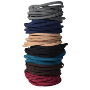 Bzybel 7 Colours Thick Solid Stretch No-damage Pony Elastics Ponytail Holders Hair Ties for Girls Women Ladies
