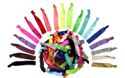 Alayna Rainbow No-Damage Ribbon Hair Ties- No Crease Stretchy Elastic Ponytail Holders Hair Bands, Solid Colours