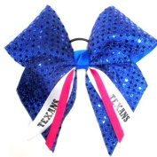 Custom Mascot Extra Large Soft Sequin Hair Bow, Made in the USA, Pick your Mascot & Colours, Black Pony Band or French Clip