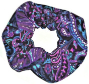 Black Purple Pink Teal Paisley Silky Fabric Hair Scrunchie Handmade by Scrunchies by Sherry