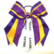 Custom Mascot Multi Layer Bow with Soft Touch Sequin, Made in the USA, Pick your Mascot & Colours, Black Pony Band or French Clip