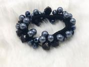 Silver Black beads ponytail holder elastic ties