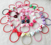 Cuhair 20pcs elastic bow knot design for girl ponytail holder hair tie rope rubber accessories