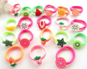 Cuhair 20pcs elastic fruit design for girl ponytail holder hair tie rope rubber accessories