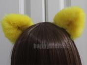 Happylifehere Furry Cat Ears Headband Bear Ears Hairband For Halloween Cosplay Prop Yellow