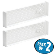 mDesign Adjustable Deep Drawer Organiser Dividers for Kitchen or Dresser - Pack of 2, White