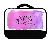 I Solemnly Swear That I Am Up To No Good Quote Pink Background Design Print Image Artwork Canvas Lunch Bag by Trendy Accessories