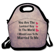 Luckiest Guy Married To Me Lunch Bag Adjustable Strap