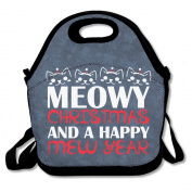 Meowy Christmas Lunch Bag Adjustable Strap