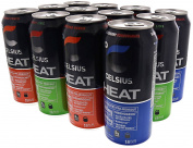 Celsius Heat Carbonated Thermogenic Pre-Workout for an Accelerated Metabolism and Healthy Energy 350ml Cans