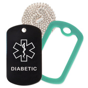 Diabetic Medical Alert ID Necklace with Black Tag, Green Dark Silencer, and 80cm USA Chain - 154 Colour Choices