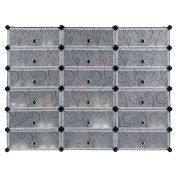 LANGRIA 18-Cube DIY Shoe Rack, Multi Use Modular Organiser Storage Plastic Cabinet with Doors, Black and White Curly Pattern