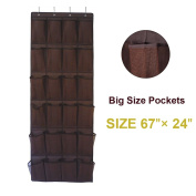 Aloudy Over the Door Shoe Organiser, 24 Large Visible Pockets(13cm x 20cm ), Space-saving Hanging Shoe Storage with 4 Stronge Hooks, Brown