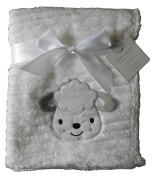 Baby Boys Girls Cute Fluffy Ribbed White Sheep Blanket Wrap 100cm x 75cm approx