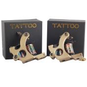 2 Pcs Iron Tattoo Guns 10 Wraps Line And Shader Set For Tattoo Supply